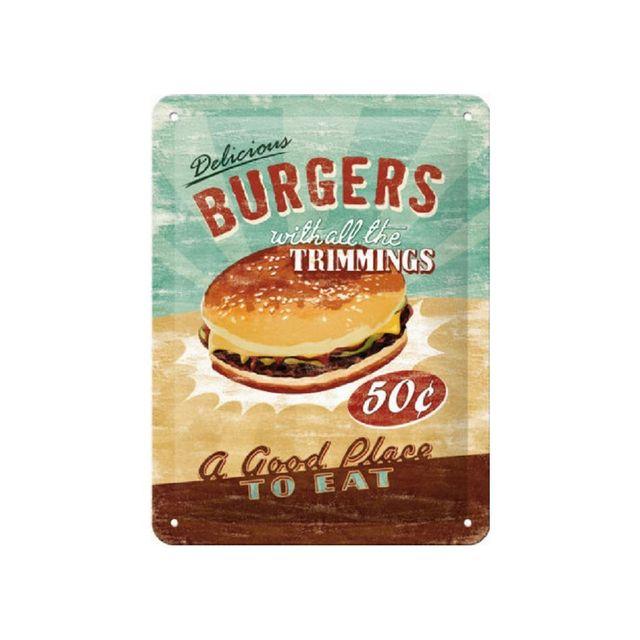 Universel Plaque delicious burgers tole bombé cuisine snack restaurant