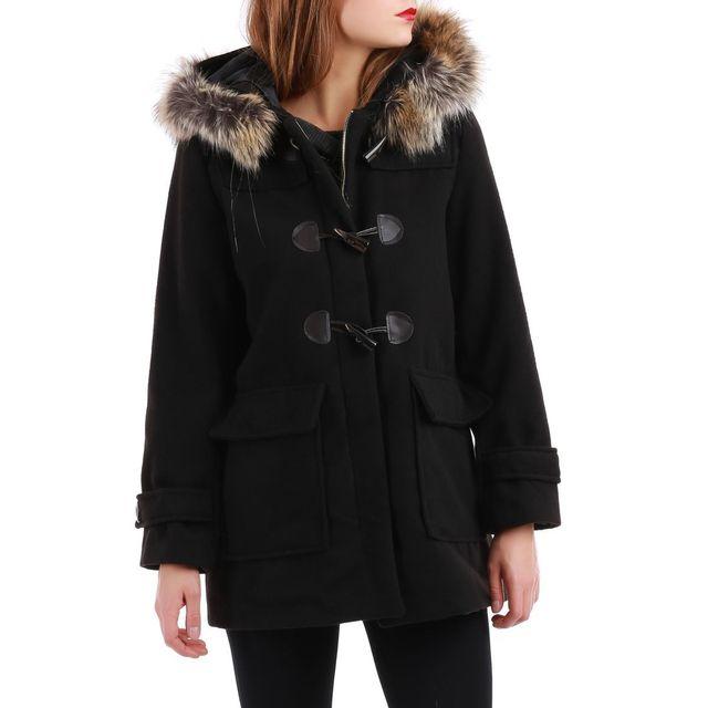 ef0e2f2b1c1f3 ... LAMODEUSE - Manteau noir style duffle-coat avec capuche fourrure ...