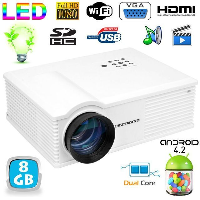 yonis vid oprojecteur android 4 2 3200 lumens led 140w full hd 1080p blanc pas cher achat. Black Bedroom Furniture Sets. Home Design Ideas
