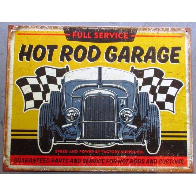 Universel Plaque hot rod garage jaune drapeau damier tole publicitaire