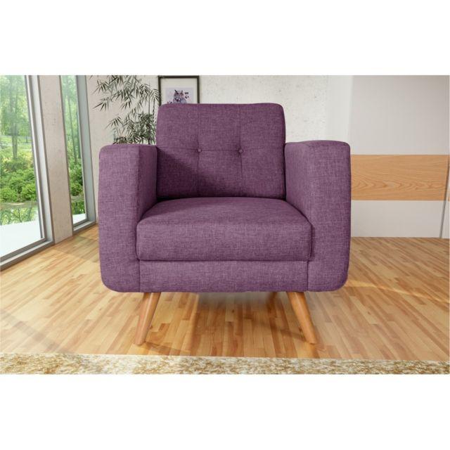 Rocambolesk Fauteuil Hedvig 1 savana 70 prune pieds naturels sofa divan