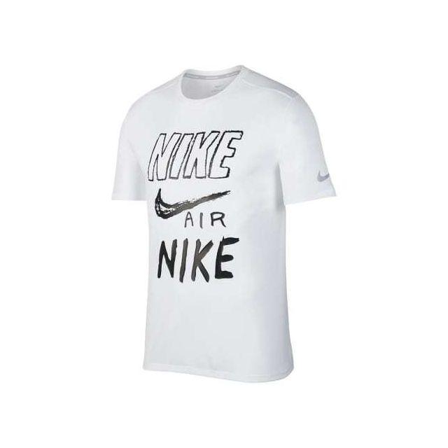 Nike - T-shirt Breathe Dri-Fit manche courte blanc noir - pas cher ... be2b66329eb