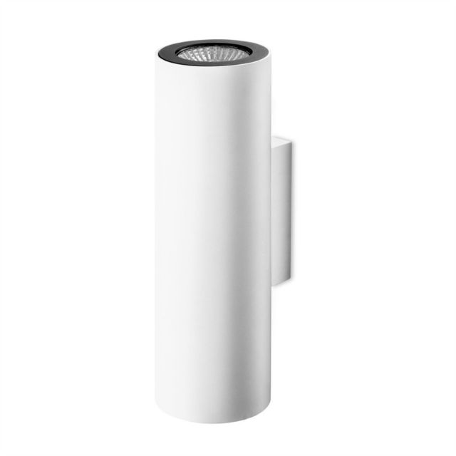 Leds C4 Applique Pipe, aluminium, blanc et noir, 20 cm