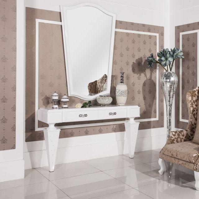 Meubler Design Console gamme Diamond laquée blanc