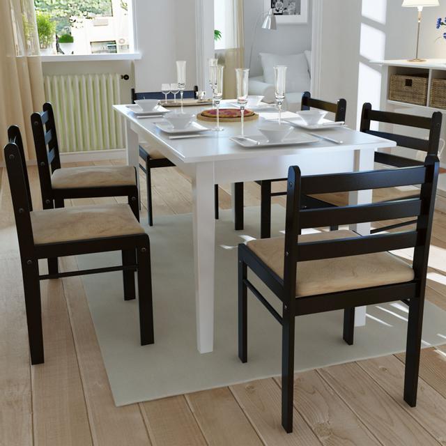 Vidaxl Lot de 6 chaises salle à manger en bois Carrée Marron