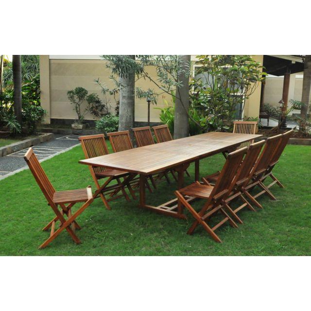 Salon De Jardin Teck Massif Huilé 1214 Pers Chaises Table Rectangle 300cm