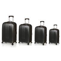 Travel's - Set de 4 Valises Rigide Abs 4 Roues 46-51-61-71cm New Oceania Noir