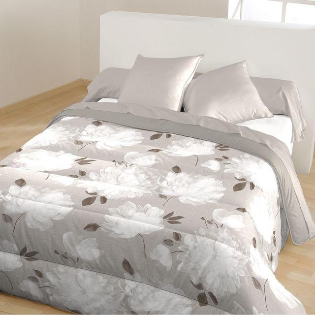 bleu calin couette imprimee 39 gersende 39 lin 200x200 200cm x 200cm pas cher achat vente. Black Bedroom Furniture Sets. Home Design Ideas