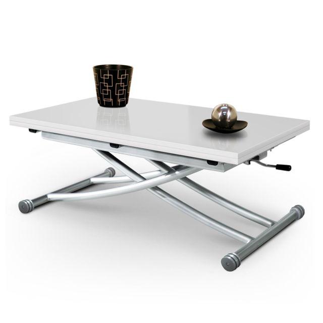 Giovanni Table basse relevable Mirage dessus verre Blanc