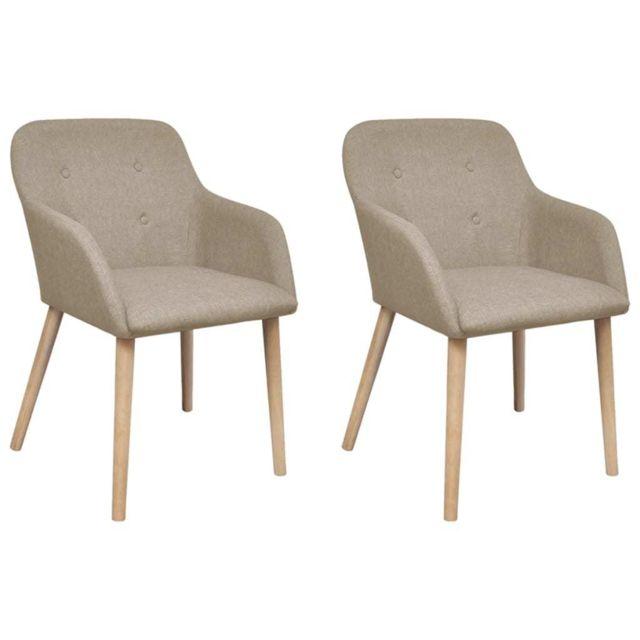 2 pcs Chaises de salle à manger Beige Tissu et chêne massif