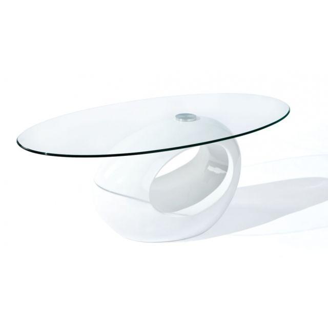 Table basse ovale - Blanc - Plateau en verre
