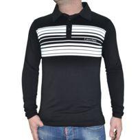 Calvin Klein - Polo Manches Longues - Homme - Rayure Km0 - Noir