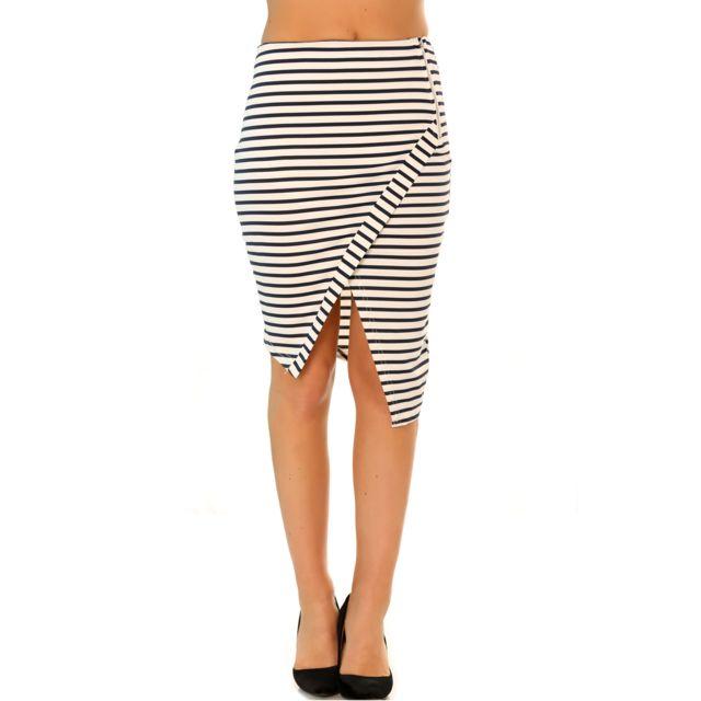 30f57c86441 Grossiste-en-ligne - Jupe porte feuille Blanc et noir très fashion. Mode
