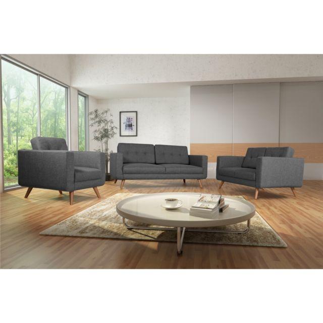 Rocambolesk Canapé Hedvig 3+2+1 savana 05 anthracite pieds naturels sofa divan