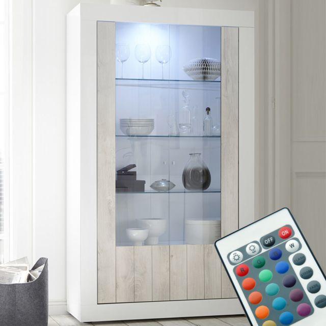 Sofamobili Vaisselier Led moderne couleur pin et blanc Serena 3