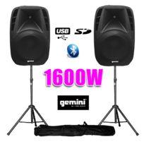 """Gemini - Paire d'enceintes amplifiées Boomer 15"""" 1600W+pied"""
