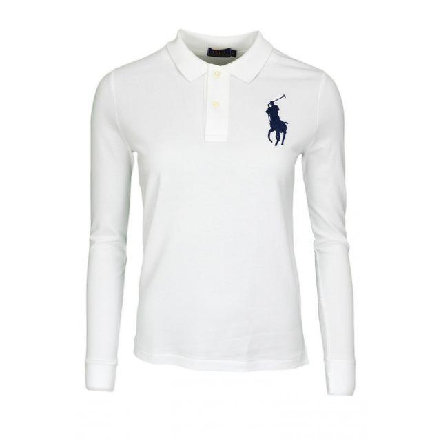 Ralph Lauren - Polo anches longues Big Poney blanc pour femme - pas cher  Achat   Vente Polo femme - RueDuCommerce 4ce10d86a3e