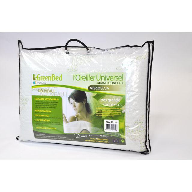 espritzen lot de 2 oreillers m moire de forme greenbed viscosoja taille 60x40cm et 10cm d. Black Bedroom Furniture Sets. Home Design Ideas