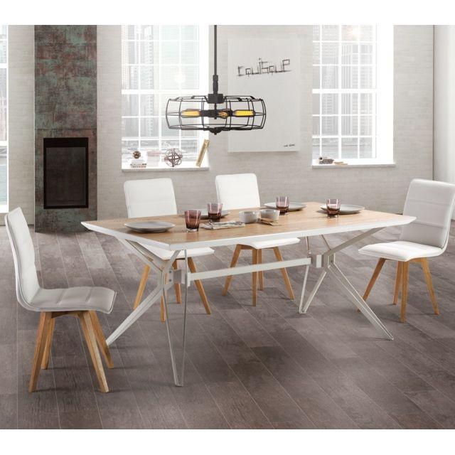 Tousmesmeubles Table de repas Bois/Métal - Cogite - L 180 x l 90 x H 76