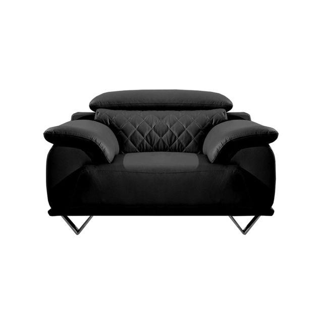 La Maison Du CanapÉ Fauteuil Design en cuir Garcia Noir