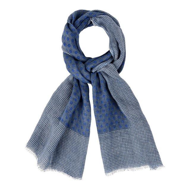 33a5733188b3 Les Poulettes Bijoux - Echarpe 100% Lin Bleu Et Pois Bleu- Bordure Plumetis  Blancs