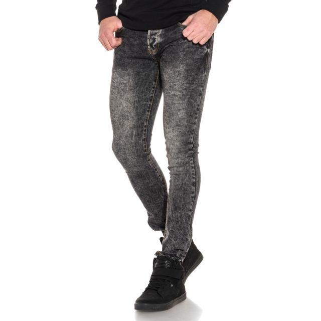 BACKLIGHT Jean noir slim délavage important