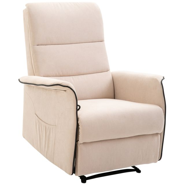 HOMCOM Fauteuil de relaxation grand confort dossier inclinable repose-pied ajustable flanelle beige