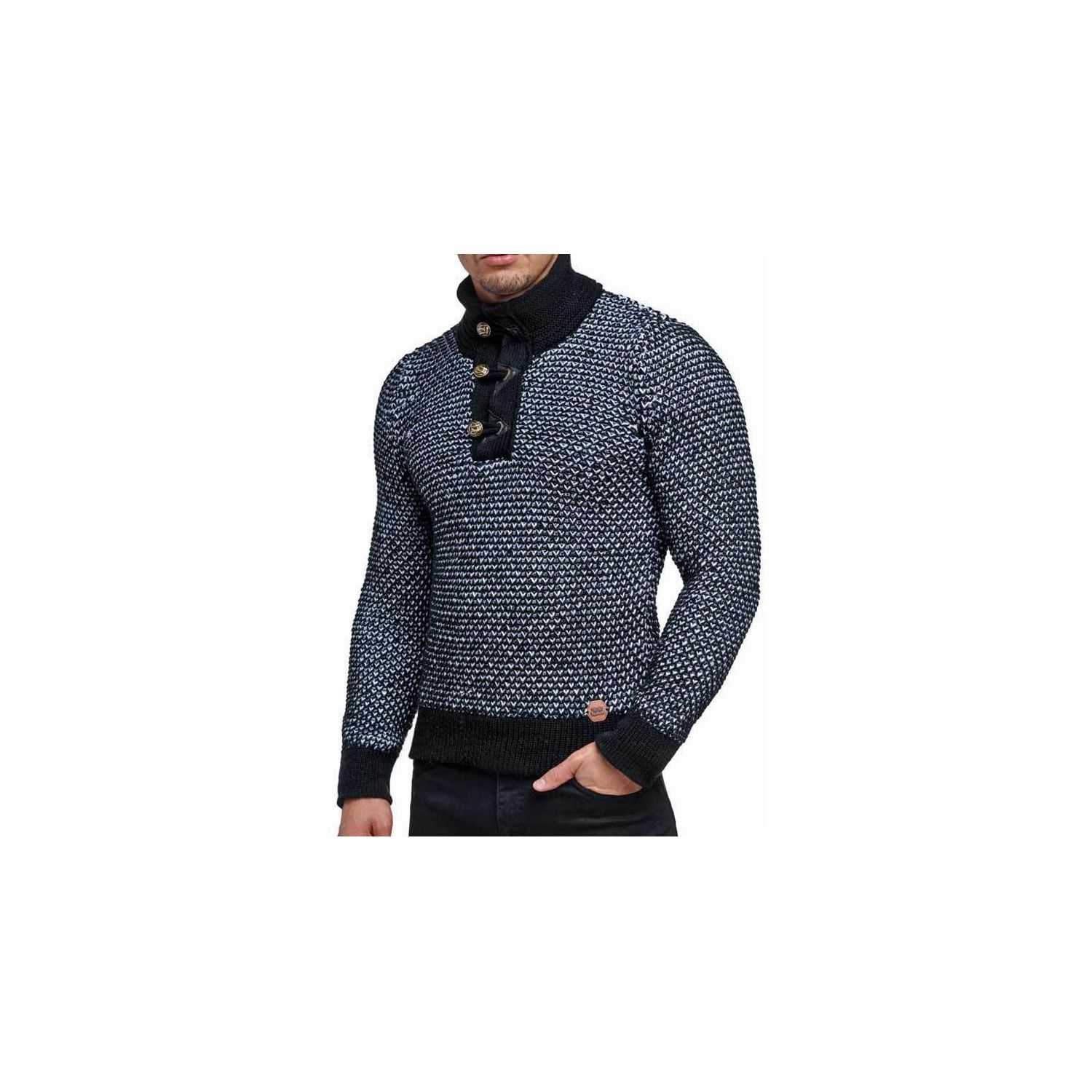 caefa3f50bb BESTSTYLE- Pull chaud pas cher homme noir col montant mode