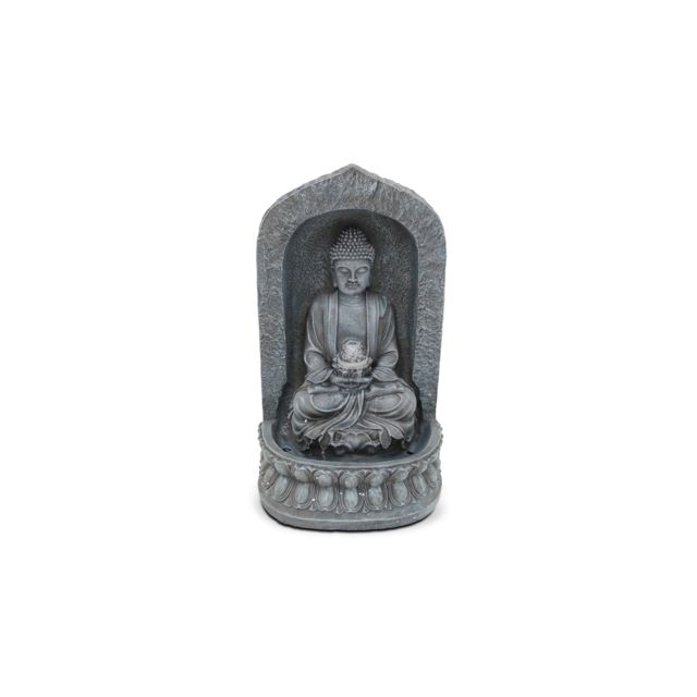 Fontaine bouddha assis - Gris