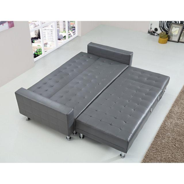 Concept Usine - Canape d'angle simili 5 places Isis Convertible Lit Canapé convertible Simili