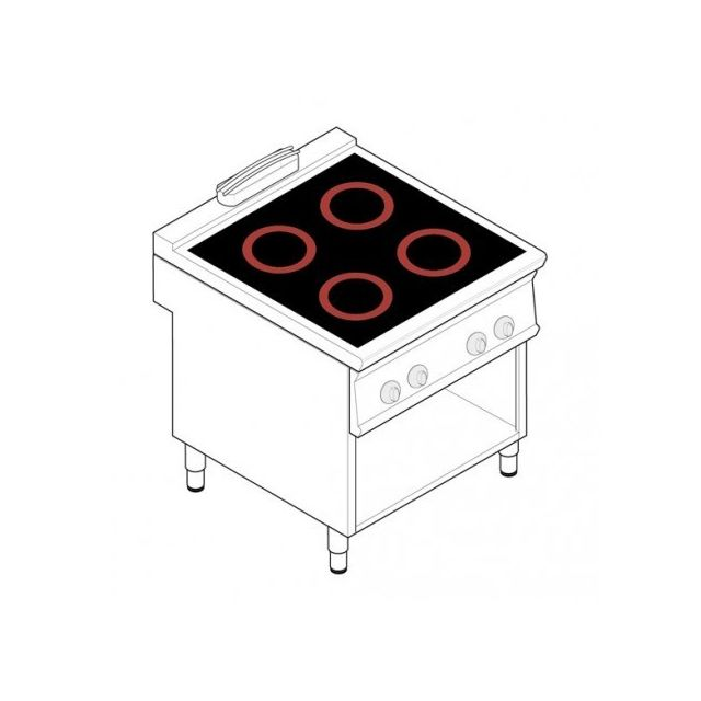 Materiel Chr Pro Piano de cuisson électrique - 4 plaques vitrocéramiques 3,4 kW - gamme 900 - Tecnoinox - 900