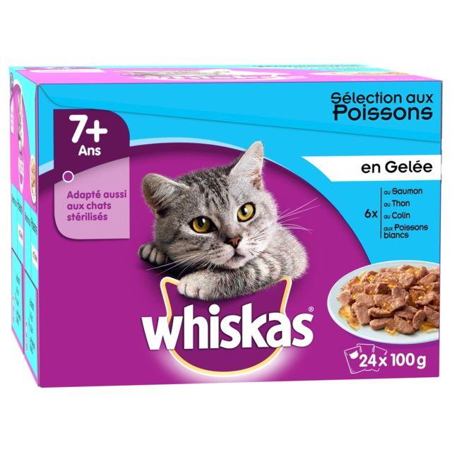 Whiskas Repas en Gelée 7+ Sélection aux Poissons pour Chat - 24x100g