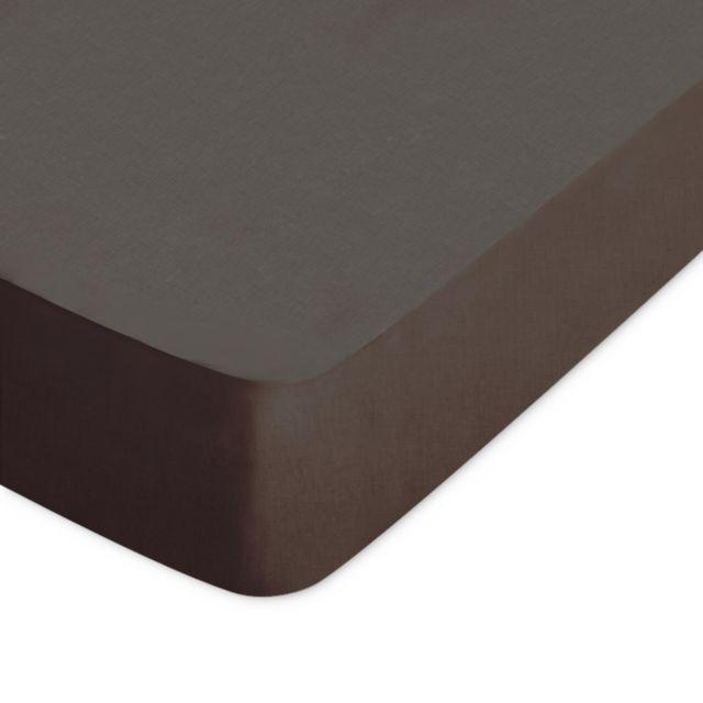 drap housse 200x210 Linnea   Drap housse uni 200x210 cm 100% coton Alto Manganese  drap housse 200x210
