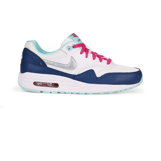 low priced 7ce94 eb181 Nike - Chaussures Air Max 1 Junior White Blue Silver h15 - pas cher Achat    Vente Baskets enfant - RueDuCommerce