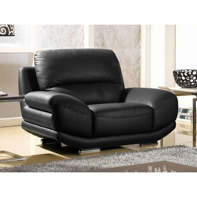 La maison du canap fauteuil en cuir barcelona noir - La maison du canape ...