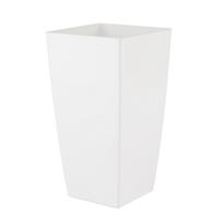 Artevasi - Pot de fleur carré blanc en résine plastique injectée pour intérieur ou extérieur 22 cm x H 40 cm