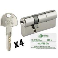 Bricorama - Cylindre de porte 30 x 60 mm debrayable avec 4 clés et carte de reproduction Barillet double entrée