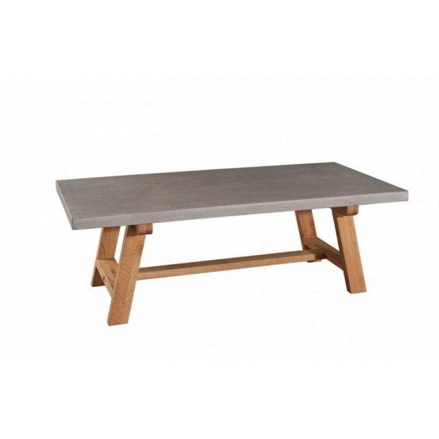 Inside 75 Table basse béton Nino en chêne style industriel