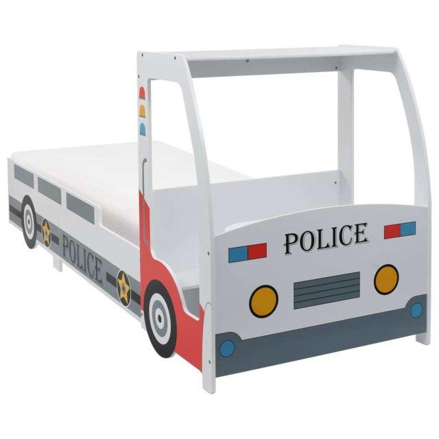 Vidaxl Lit Voiture de Police avec Matelas pour Enfants 7 Zone H3 Cadre Chambre