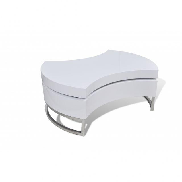 Casasmart Table basse blanche brillante avec plateau pivotant