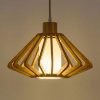 Lampe suspendue Luminaire Salon Lustre en bois de la chambre à coucher  salle à manger E27 / E26 à une tête forme blanc chaud