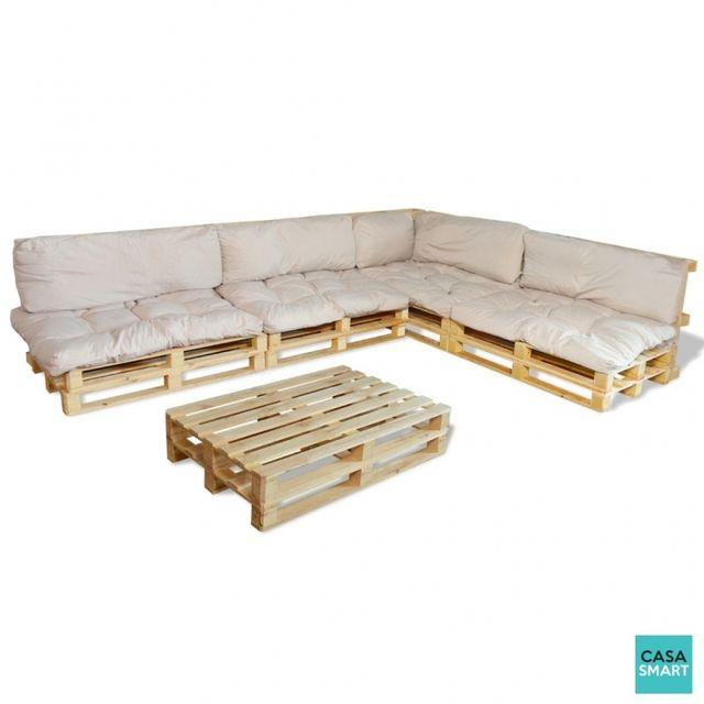 casasmart ensemble salon de jardin en palette coussins. Black Bedroom Furniture Sets. Home Design Ideas