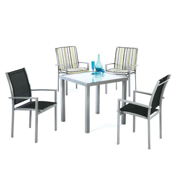 Hevea Jardin Ensemble tables et chaises Set perseo - 808/4 Alu/textilene/verre - gris argent - noire