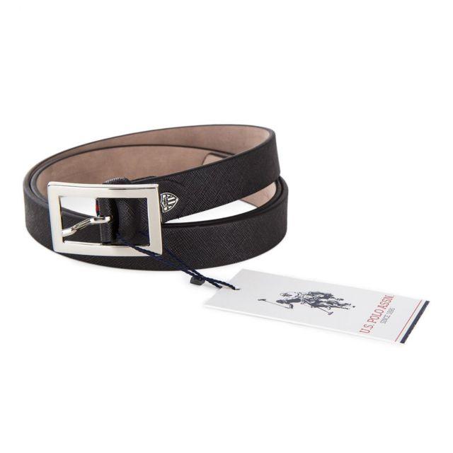 Us Polo - Ceinture simli cuir texturé femme Noir - pas cher Achat   Vente  Ceintures - RueDuCommerce 5750afd7479