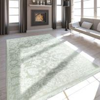 Tapis Qualite Salon Moderne Effet Satin Baroque Design Franges Creme