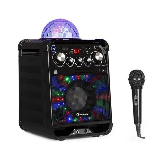 AUNA Rockstage LED Chaîne karaoké lecteur CD Bluetooth USB AUX Jellyball -noir