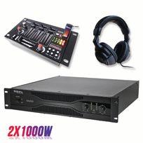 Ibiza - Pack sonorisation amplificateur 2000W Sa2000 + Table de mixage 4 voies 7 entrées + Casque