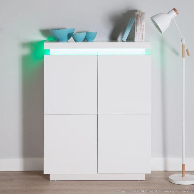 Axe Design Buffet design 4 portes avec leds en bois laqué L96cm Ivy - Blanc