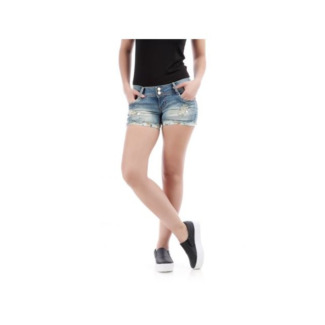 La Modeuse - Short en jeans court revers floral   strass bleu - pas ... 23f411ab745