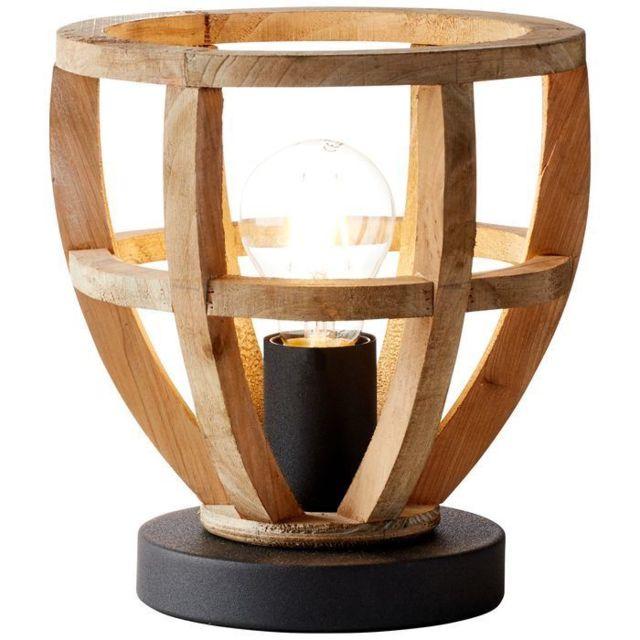 Brilliant Lampe Matrix Wood 2 1x40W Bois antique-Noir